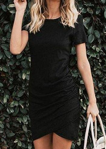 Solid Ruched Short Sleeve Bodycon Dress without Necklace (414924)