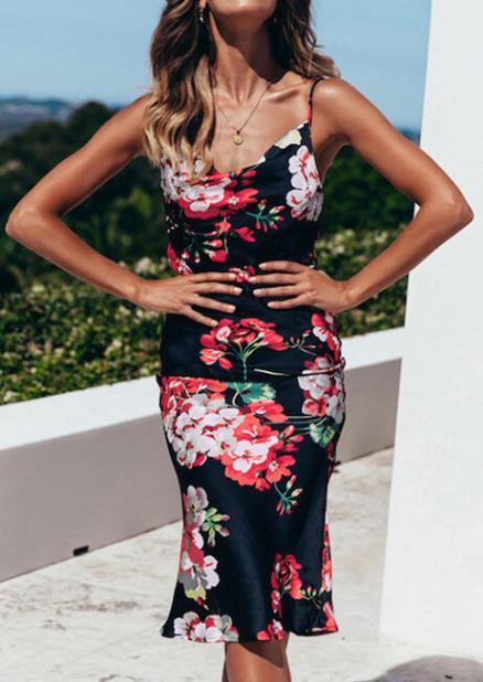 Floral Printed Backless Bodycon Dress without Necklace - Black (445662)