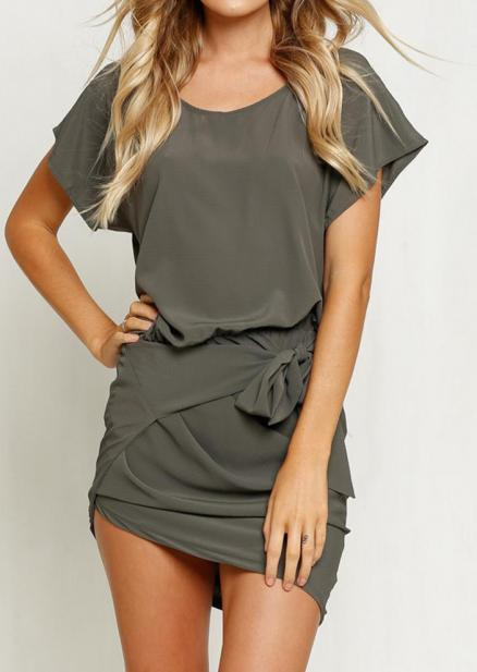 Solid Ruffled Knot Bodycon Mini Dress - Army Green (71438)