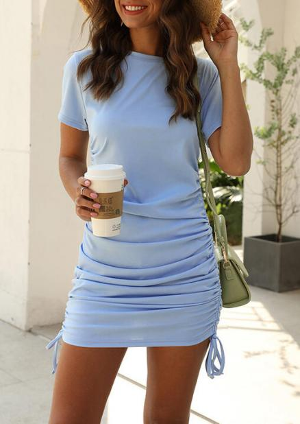 Drawstring Ruffled Bodycon Dress - LightBlue (462421)