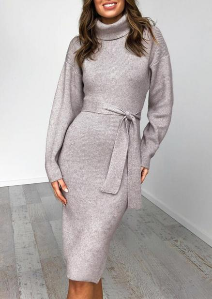 Solid Turtleneck Slit Bodycon Dress with Belt - Light Grey (460095)