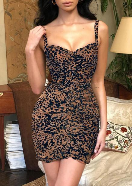 Leopard Printed Ruffled Bodycon Dress (462275)