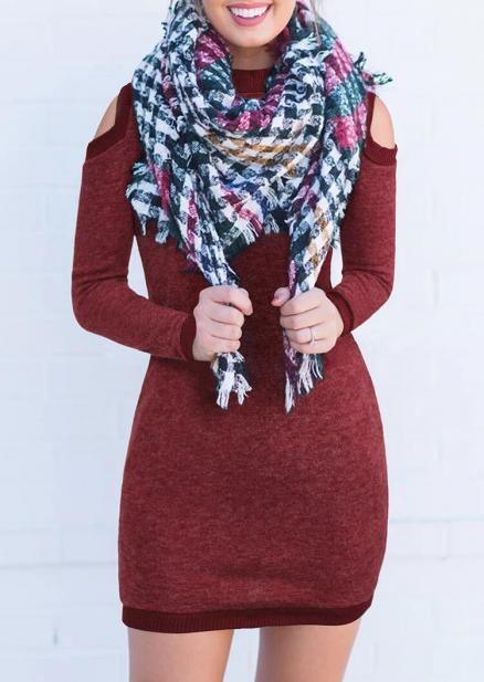 Solid Cold Shoulder Bodycon Dress without Scarf - Burgundy (459814)
