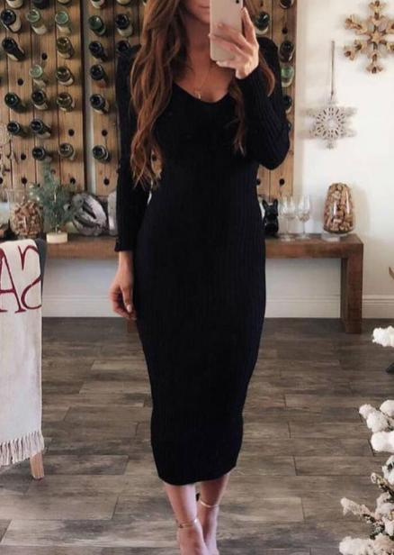 Solid Long Sleeve Bodycon Dress without Necklace - Black (460416)