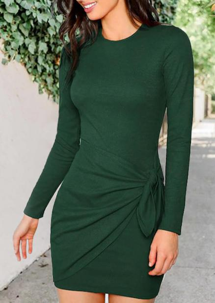 Solid Twist Tie Bodycon Dress - Green (459585)