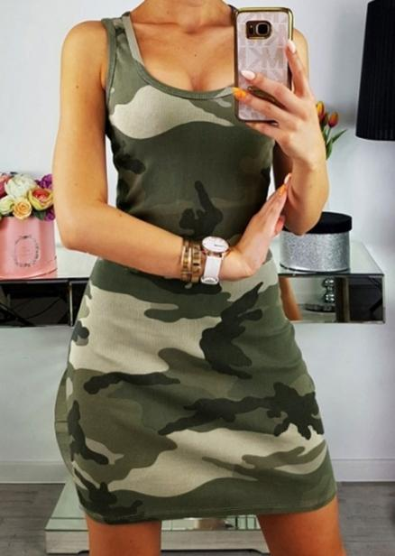 Camouflage Printed Sleeveless Bodycon Dress (403060)