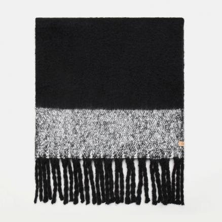 Colorblock Blanket Scarf With Fringe