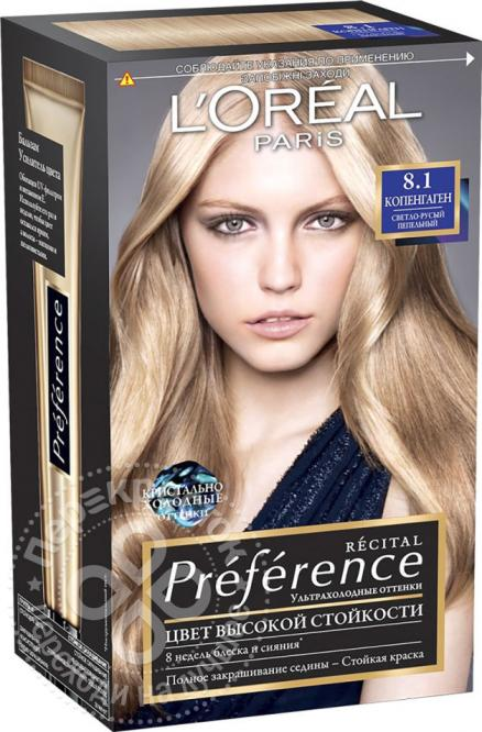 Краска для волос Loreal Paris recital Preference 8.1 Копенгаген Светло-русый пепельный